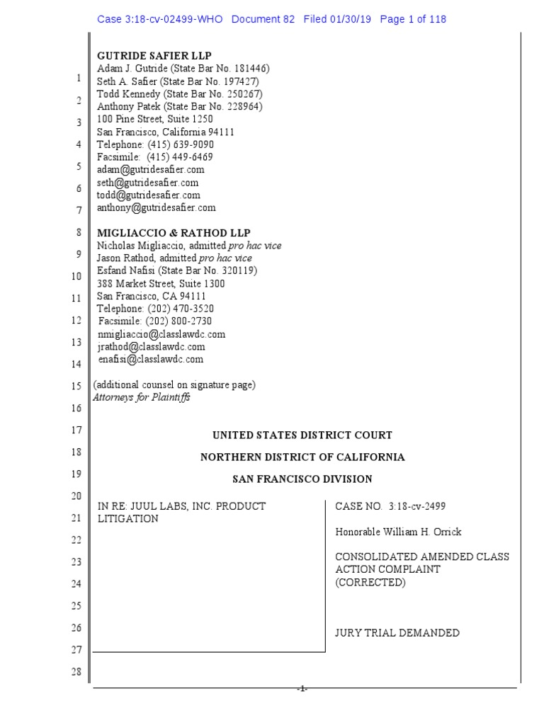 JUUL Labs, Inc  Class Action Complaint - January 30, 2019
