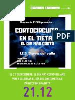 Póster Festival de Cortos. Actividad realizada por alumnos de FPB. IES Sierra del Valle