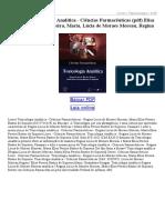 Toxicologia Analítica Ciências Farmacêuticas