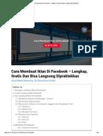 Cara Membuat Iklan Di Facebook - Lengkap, Gratis Dan Bisa Langsung Dipraktekkan