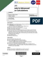 LCCI Level 3 - Advanced Business Calculations (Exam Kit)