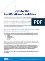 Requirements for the Identification of Candidates