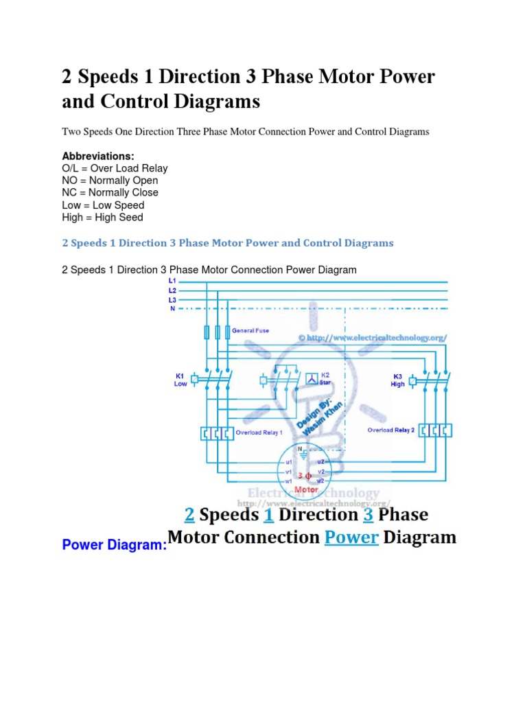 2 speeds 1 direction 3 phase motor power and control diagramsdocx