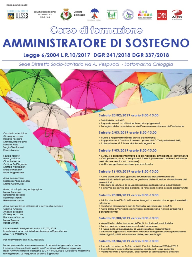 Relazione Periodica Amministratore Di Sostegno.Corso Amministratori Di Sostegno 2019 Sottomarina Public