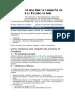 Buena Campaña de Publicidad en Facebook Ads