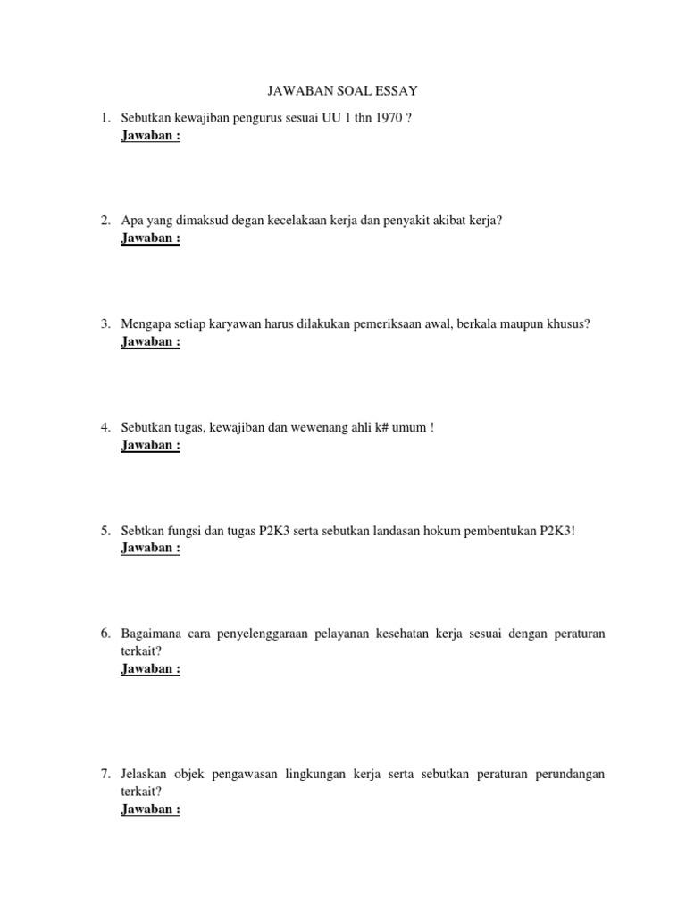 contoh soal essay dan jawaban k3lh