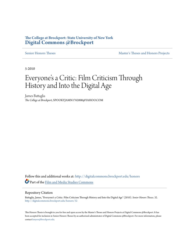 Everyone S A Critic Film Criticism Through History And Into The Pdf Entertainment Cinema