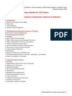 Essay Outline- Critical Analysis of Education Systems in Pakistan (by- Mureed Hussain CSP)