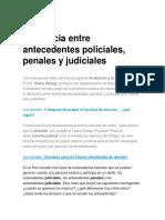 Diferencia entre antecedentes policiales, penales y judiciales
