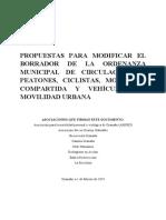 Propuestas para modificar el borrador de la Ordenanza municipal de Granada sobre la circulación de peatones, ciclistas, movilidad compartida y vehículos de movilidad urbana