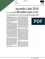 Meteo, secondo i dati 2018 Urbino diventa caso a sé - Il Resto del Carlino del 31 gennaio 2019