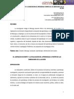 El liderazgo docente y la evaluación del aprendizaje a partir de las dimensiones de la acción. Fabio Manrique Millán – Julio Cesar Murcia Padilla. Universidad Santo Tomás.