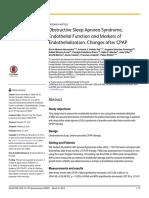 ObstructiveSleepApnoeaSyndrome, EndothelialFunctionandMarkersof Endothelialization.changesafterCPAP