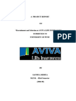 Study of Recruitment & Selection Process in Aviva Life Insurance By Saumya Mehta