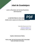 La Geston Publica Local en Mexico. Analisis Sobre La Vigencia de La Nueva Gerencia Publica