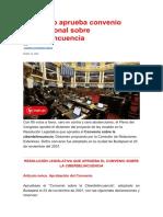 Congreso aprueba convenio internacional sobre ciberdelincuencia