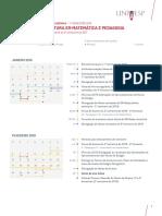 Calendário 2019.1 - Matemática e Pedagogia