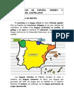 Las Lenguas de España. Origen y Evolución Del Castellano (Secundaria)