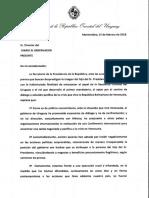 Carta de Presidencia de la República ante las acusaciones al hijo de Tabaré Vázquez