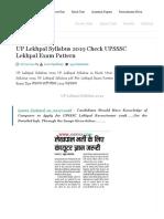 UP Lekhpal Syllabus 2019 Check UPSSSC Lekhpal Exam Pattern