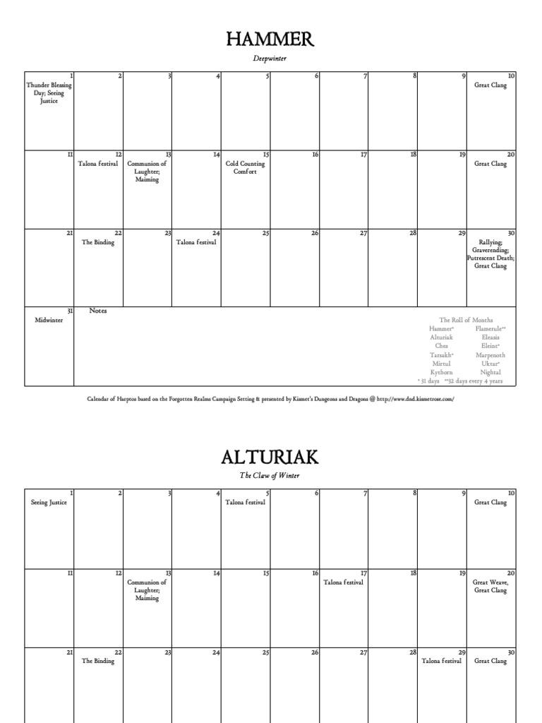 Faerun Calendar.Realms Calendar Forgotten Realms Campaign Settings