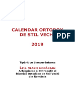 Calendar Ortodox de Stil Vechi 2019