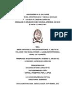 Importancia de la Prueba Científica en el Delito de Violación y su regulación en la Legislación Procesal Penal Salvadoreña..pdf