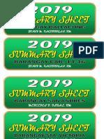 Summary Sheet 2019