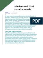 Sejarah Dan Asal Usul Bahasa Indonesia