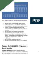 TABELA DO INSS 2019 → Calendário de pagamento dos benefícios
