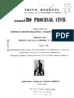 REDENTI, Enrico. Derecho Procesal Civil. Tomo III
