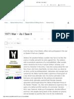 1971 War – as I Saw It