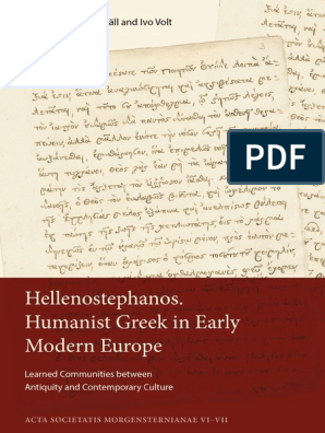 Hellenostephanos Humanist Greek In Early Modern Europe