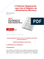 ¡Atención! Publican Reglamento de la Ley que crea el Registro de Deudores Alimentarios Morosos