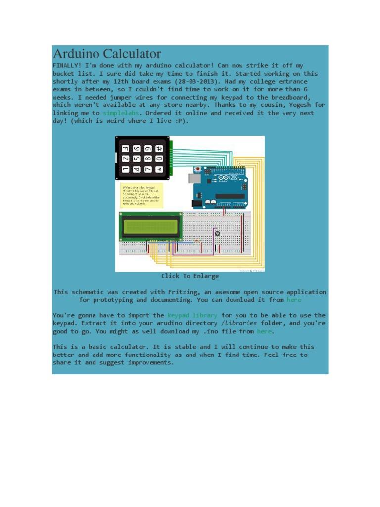 Arduino Calculator | Integer (Computer Science) | Arduino