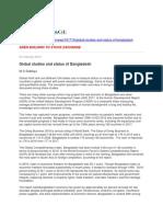 Global Studies and Status of Bangladesh