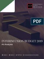 Interim Union Budget 2019 -An Analysis