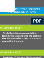 Lesson 10 Research Title, Sources and Considerations