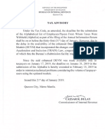 Tax Advisory Dated Jan 21 2019 Extension of Submission of Alphalist