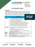 Autodesk Inventor Essentials Training Syllabus