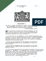 Ceylon Independence Act 1947