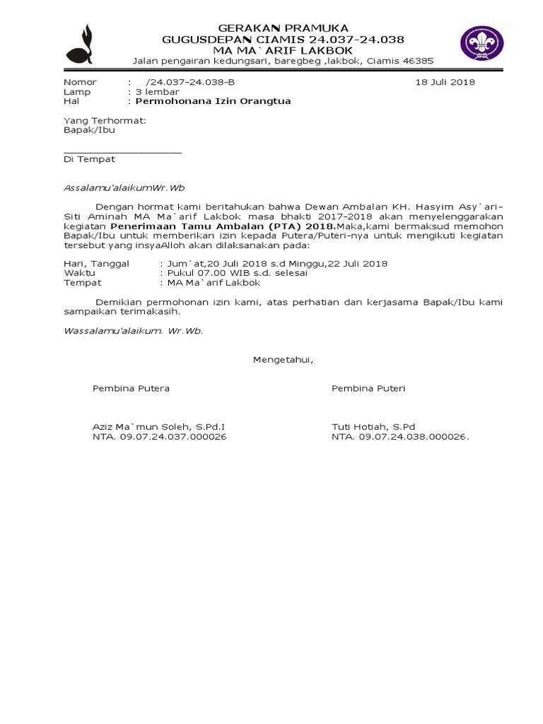 Contoh Surat Permohonan Izin Kegiatan Pramuka   Contoh ...