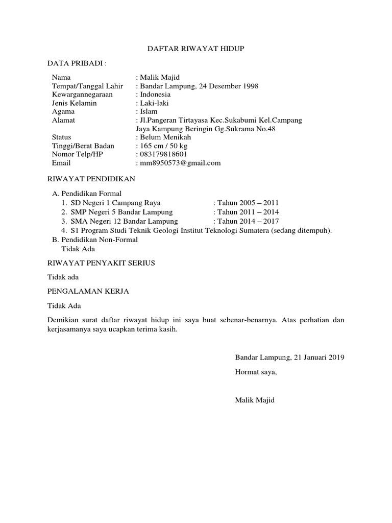 Contoh Surat Daftar Riwayat Hidup