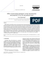 Effect of processing parameters on the microstructure and properties of an Nb microalloyed steel