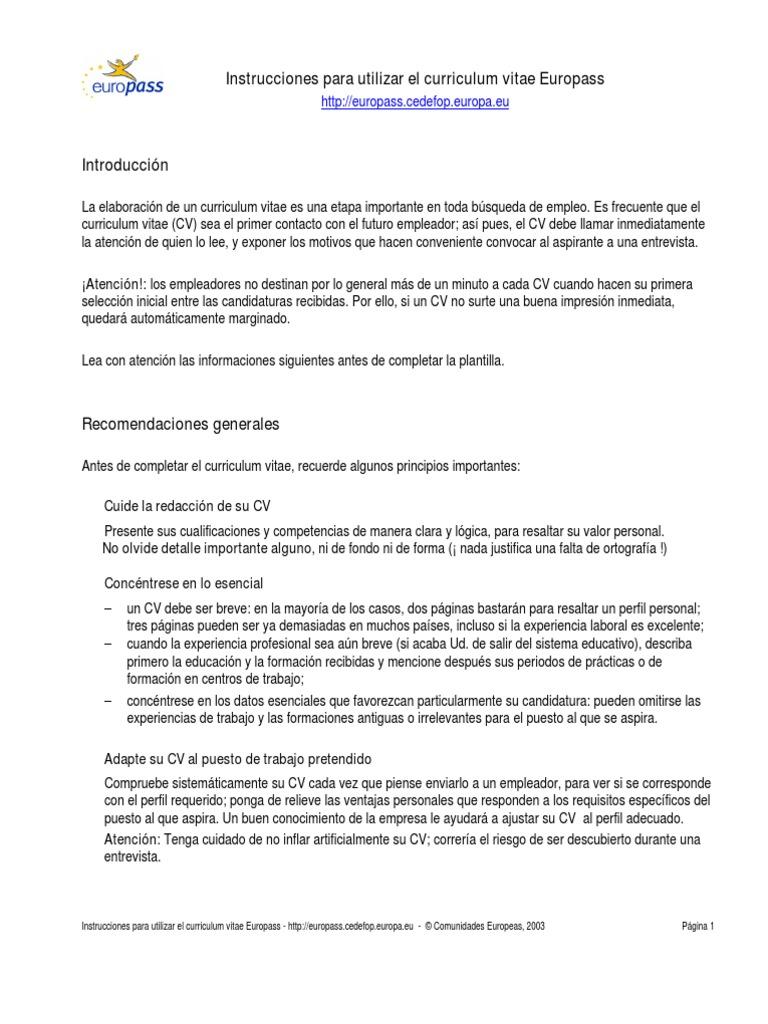 Instrucciones Para Utilizar El CV Europass