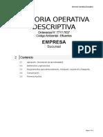 Memoria Operativa Descriptiva - Contenido