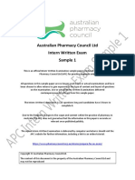 APC Pharmacy Intern Written Exam Sample