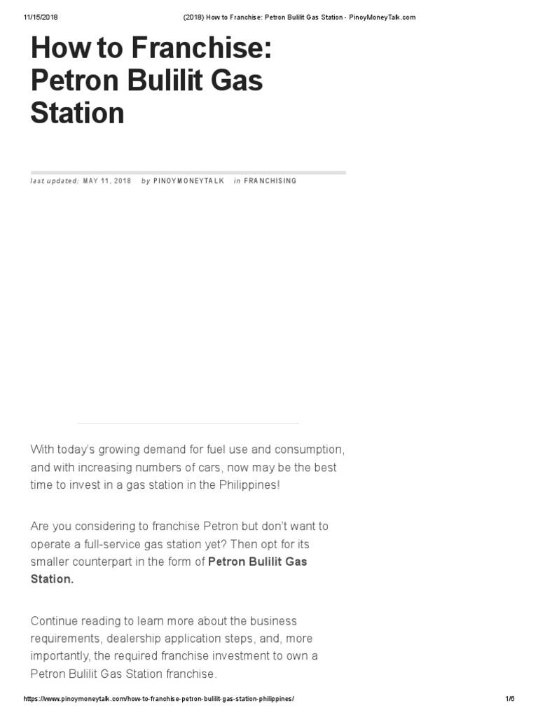 18) How To Franchise - Petron Bulilit Gas Station  PDF