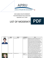 2. 2014 APRU Global Health Workshop List of Moderators (2)