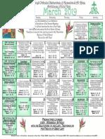 2019 March Festal Calendar